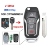 For Folding Flip Remote Smart Car Key 315Mhz 4D63 80bits Chip for Ford for Lincoln for Mercury FCC: CWTWB1U331